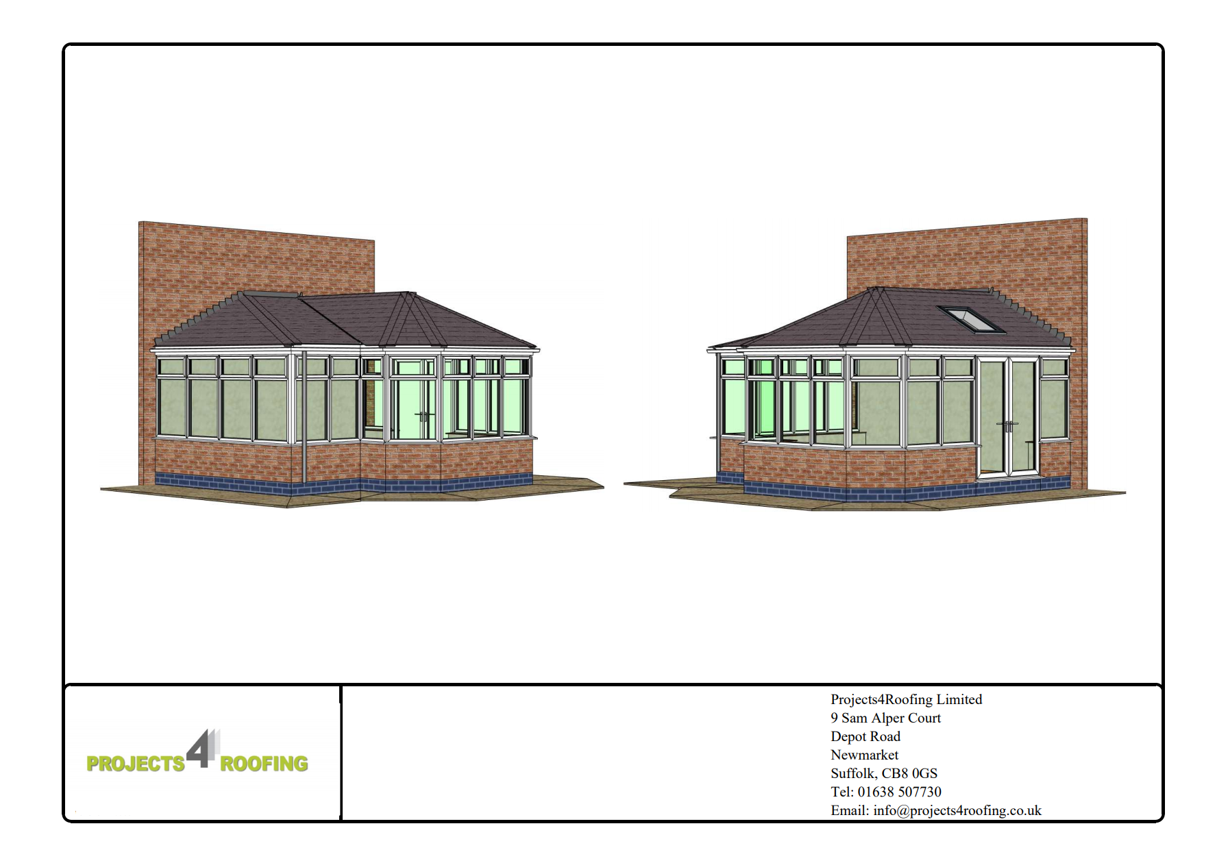 CAD conservatory roof drawings from Projects 4 Roofing