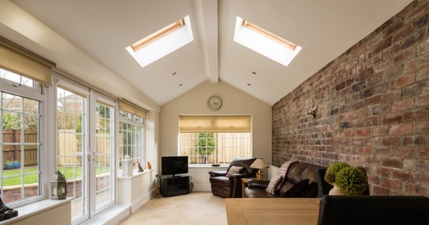 Open plan living with a conservatory roof conversion.