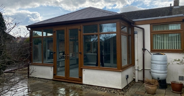 Transformed conservatory with a Guardian Warm Roof destined to be a breakfast nook.