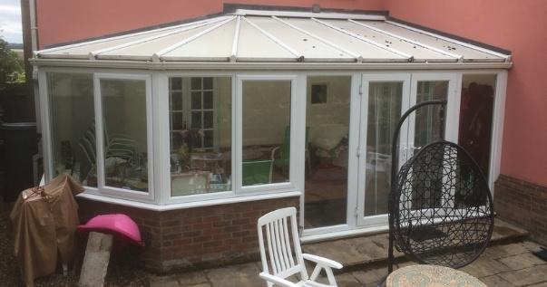 Conservatory before conservatory conversion.