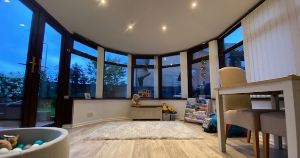 Converted conservatory turned into a conservatory playroom by installing a guardian warm roof from Projects 4 Roofing.